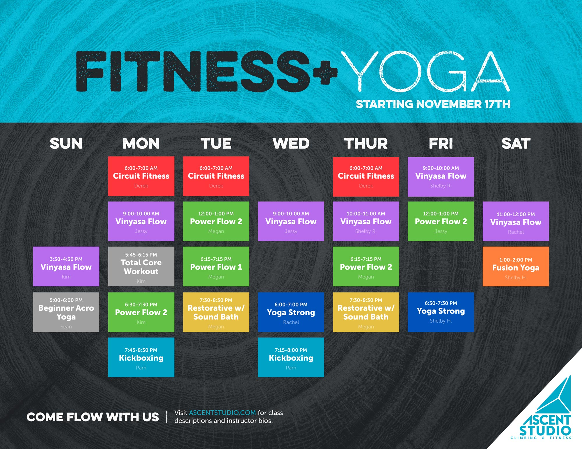 Current Fitness + Yoga Schedule